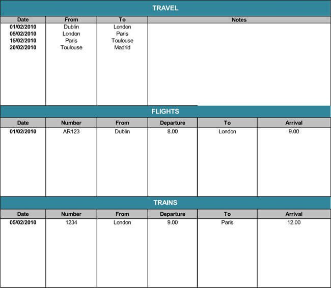 Travel Itinerary Templates For Excel And Word
