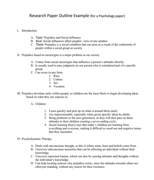 Psychology Research Outline Template