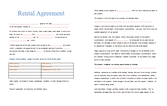 Rental Agreement Template Printable Documents – House Rental Agreements Templates