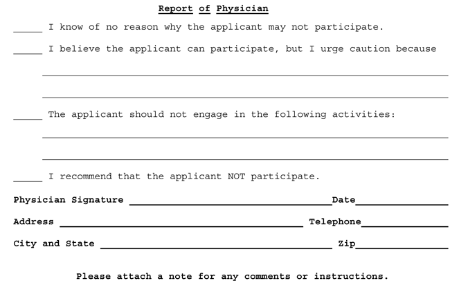 Report template of Physician on Medical Clearance