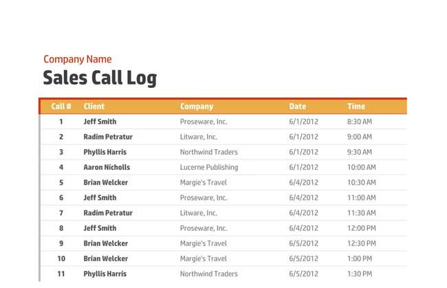 Sales Organization Call Log Template Excel