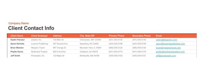 call list template