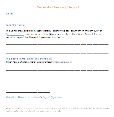 Security deposit receipt template for Car deposit contract template