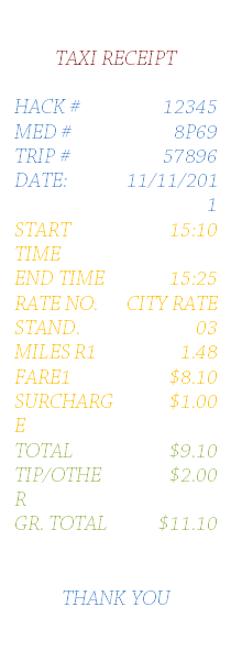 Simple Taxi Receipt Template for Word