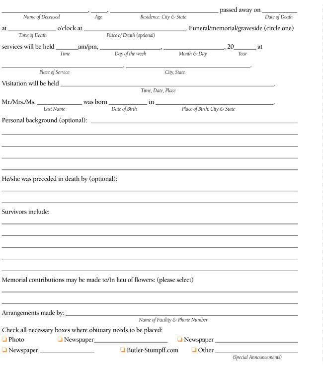 Step-by-Step Obituary Writing Form