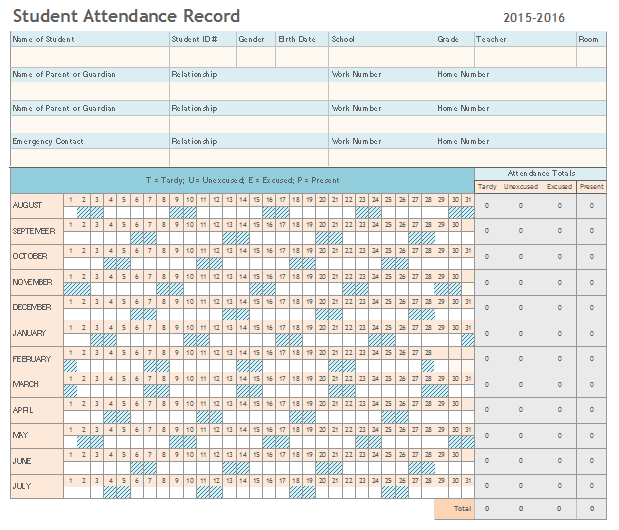 student s attendance report template yearly basis