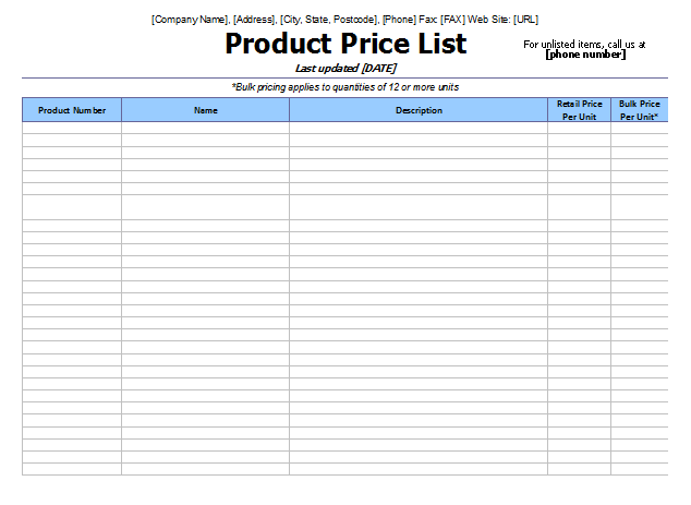 Doc35082480 Word Inventory Template Inventory List 90 – Pricing Sheet Template
