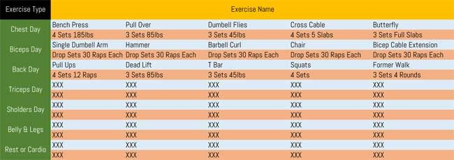 Workout Schedule Template for Excel