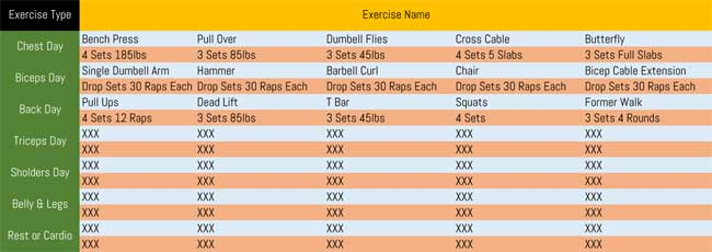 7 printable workout log templates to track your progress. Black Bedroom Furniture Sets. Home Design Ideas