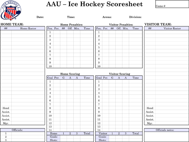 Printable Hockey Score Sheets - Download in PDF