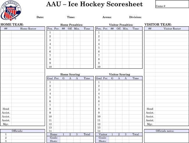 Printable Hockey Score Sheets Download in PDF – Sample Hockey Score Sheet