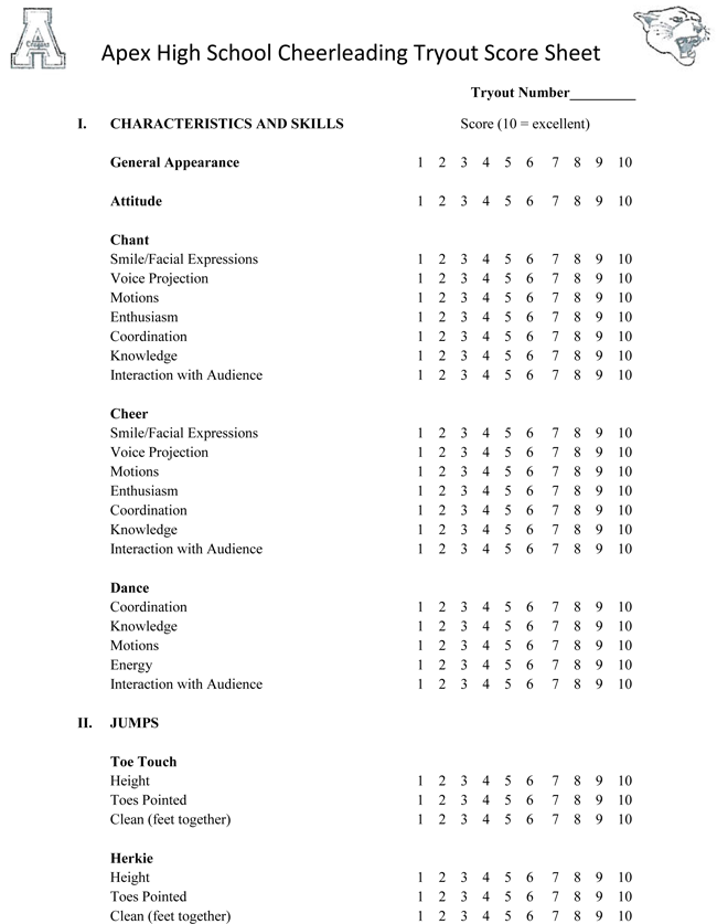 picture about Cheerleading Templates Printable referred to as Cheer primary Tryout Rating Sheets - Down load inside of PDF