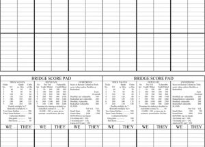 Printable Bridge Score Sheets