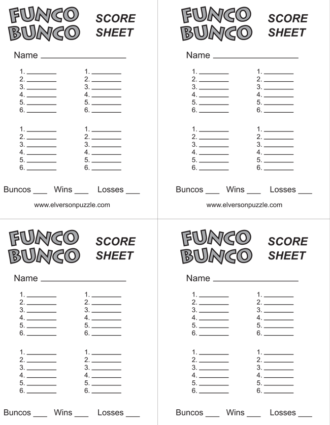 printable free bunco score sheets