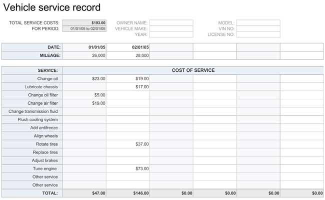printable vehicle maintenance log templates. Black Bedroom Furniture Sets. Home Design Ideas