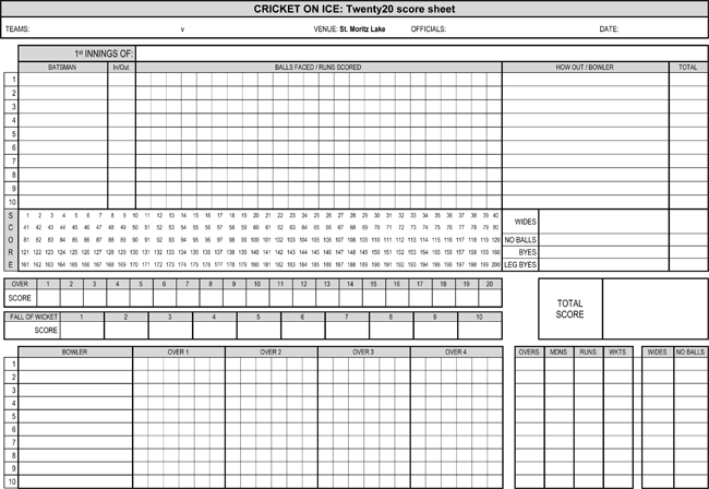 Download Cricket Score Sheets