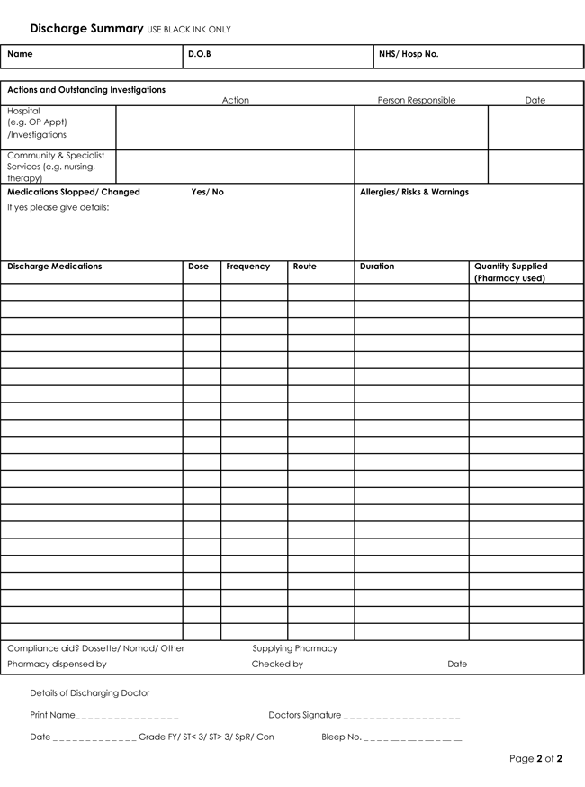 Discharge summary templates 4 samples to create for Discharge summary template mental health