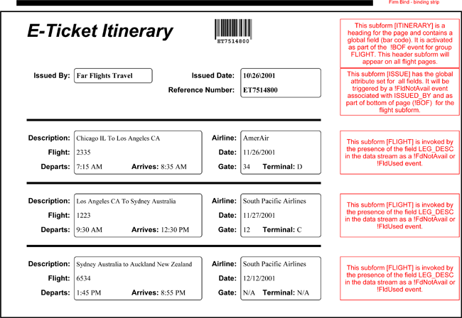 Download Free Sample of E-Ticket Itinerary Templates