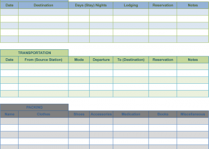 Holiday Itinerary Templates for Word and Excel