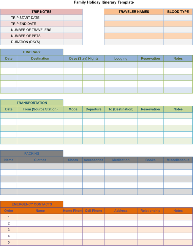 Free Family Holiday Itinerary Templates