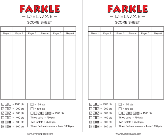 download free farkle score sheets