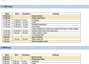 Party Itinerary Templates Word & Excel