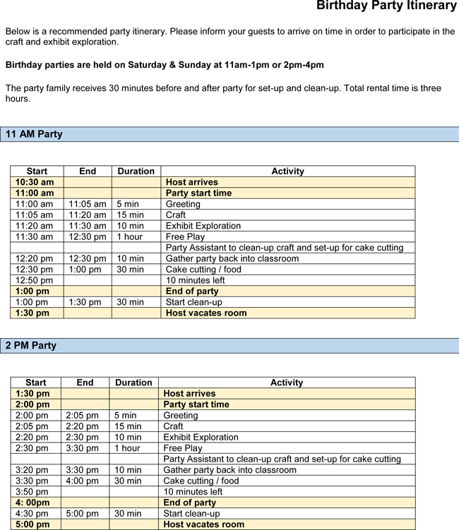 Birthday Party Itinerary Template Example