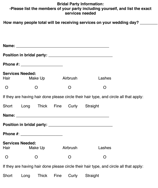 Free Sample Bridal Party Itinerary Templates