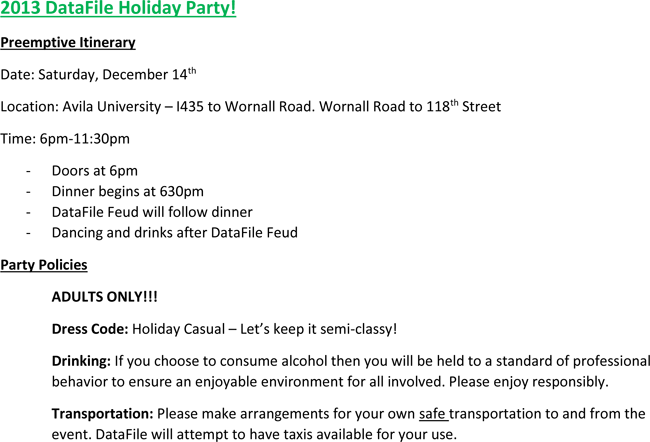 Download Holiday Party Itinerary Templates