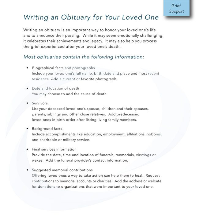 free obituary templates online