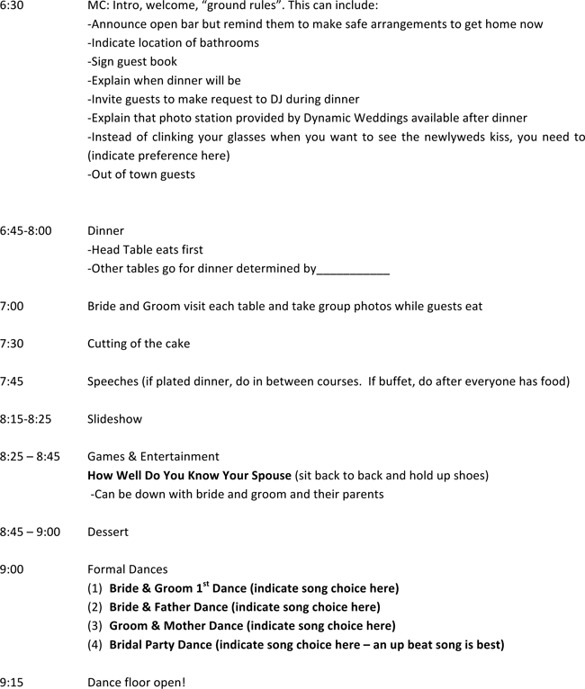 Download Wedding Reception Party Itinerary Templates