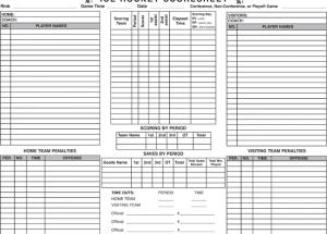 Printable Hockey Score Sheets
