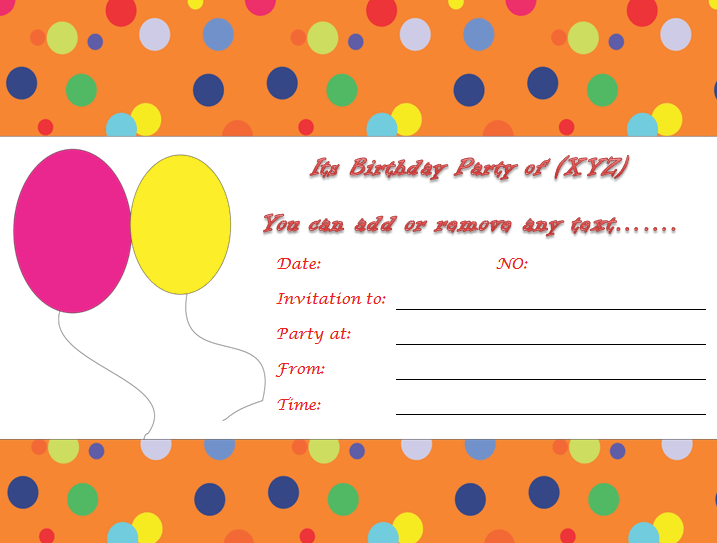 Birthday Invitation Templates to Print Custom Invitations – Birthday Invitation Template Word