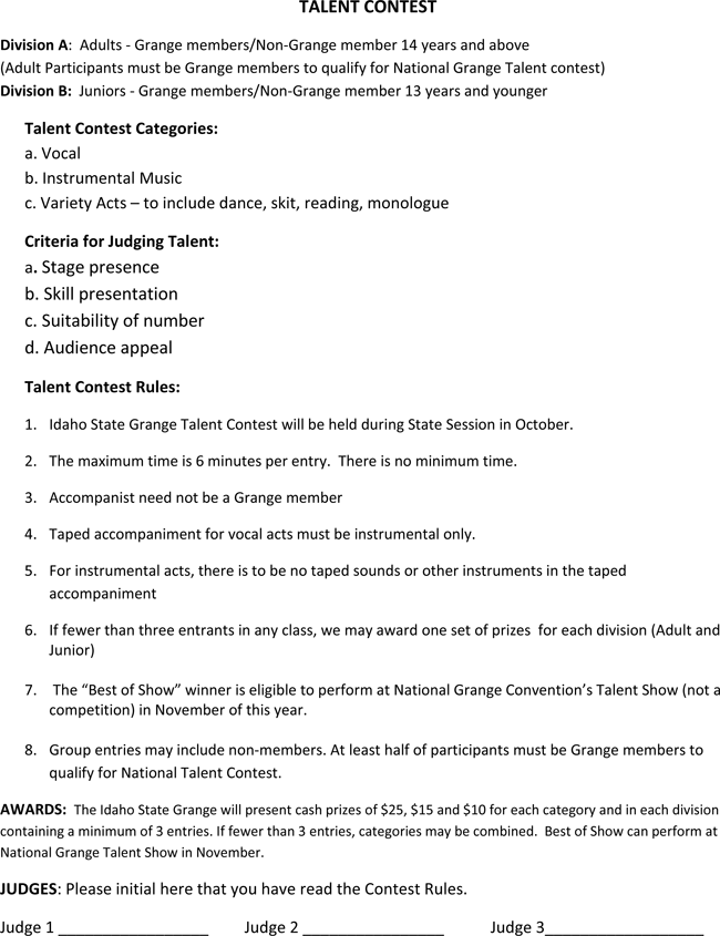 printable talent show score sheets