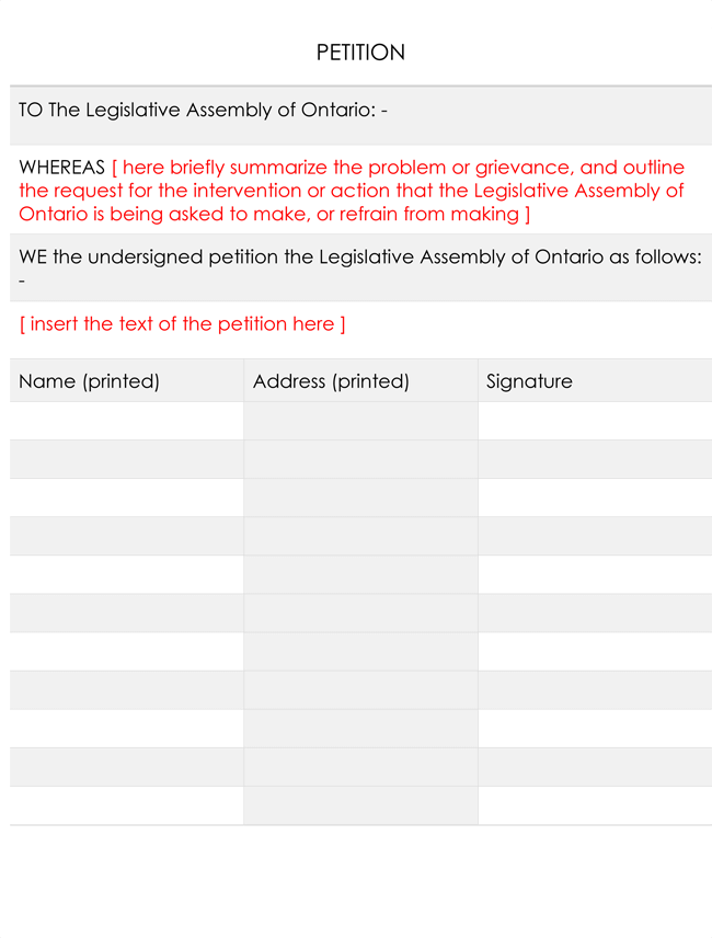 how to set up a legal petition