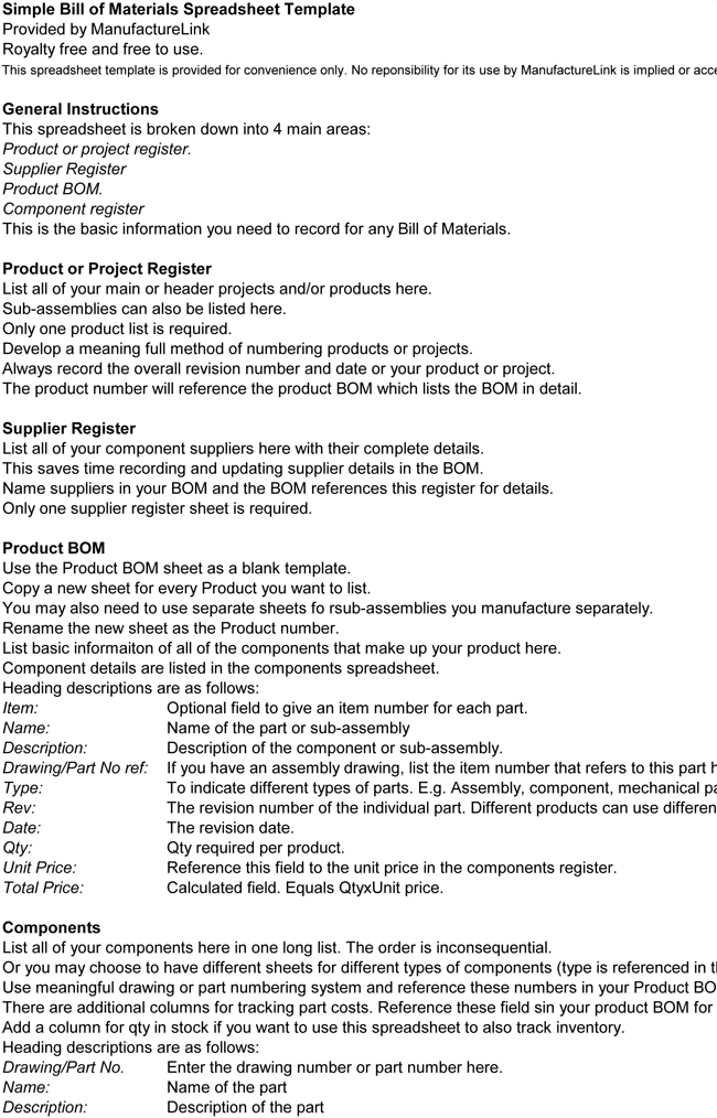 Manufacturing Bill of Materials Example