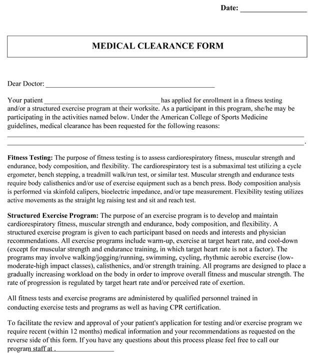 Medical Clearance Form Samples For Exercise