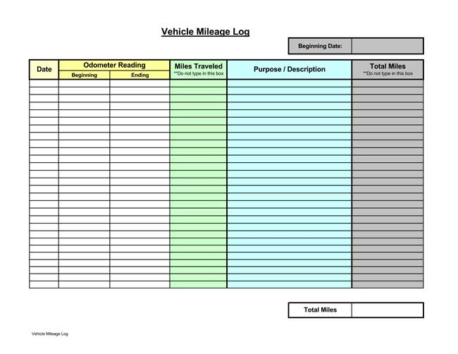 8  printable mileage log templates for personal or