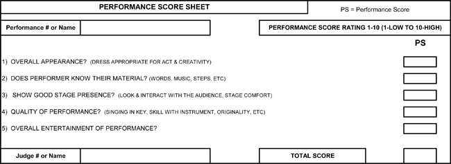 Printable Talent Show Score Sheets Download in PDF – Sample Talent Show Score Sheet