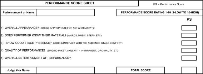 Sample Of Talent Show Score Sheet