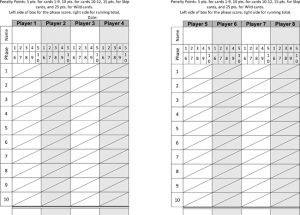 Printable Phase 10 Score Sheets
