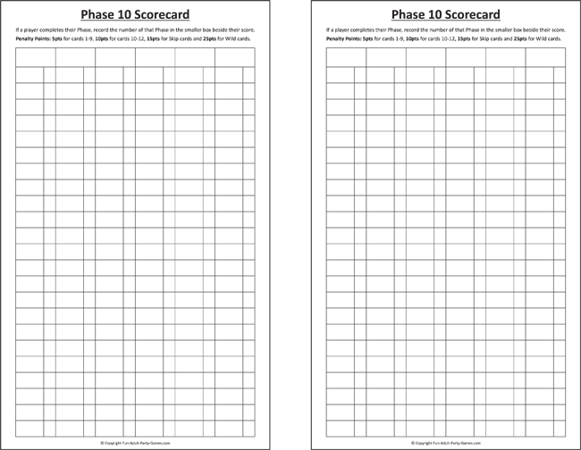 Free Download Phase 10 Score Sheets