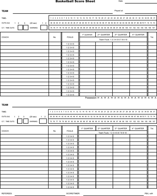 basketball score sheets format