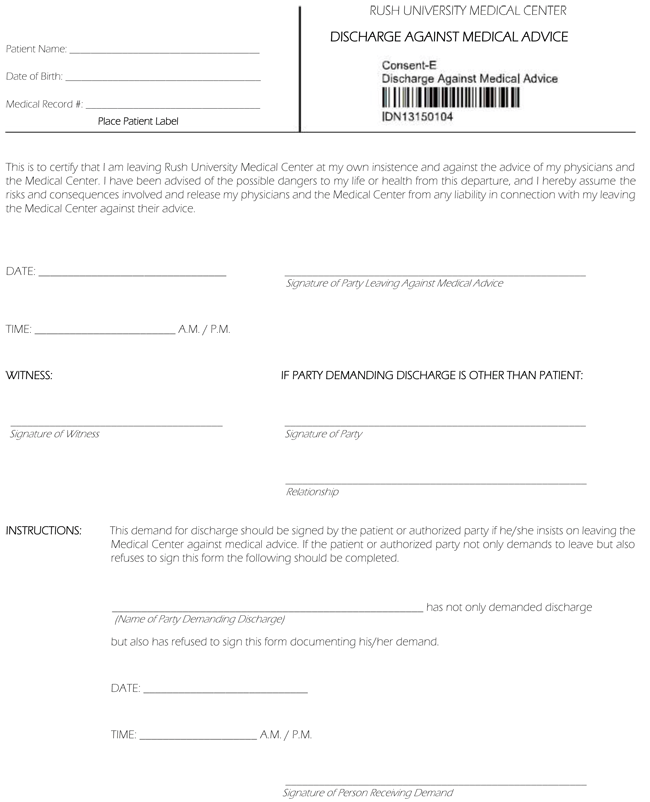 5 against medical advice form samples and formats release against medical advice form thecheapjerseys Image collections