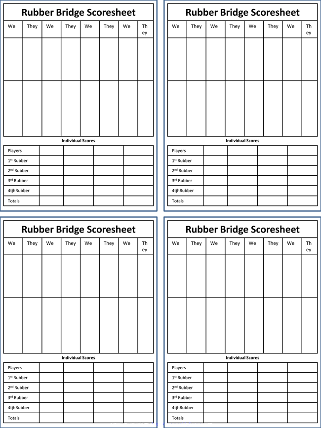 Printable Bridge Score Sheets Download Free in PDF – Bridge Score Sheet