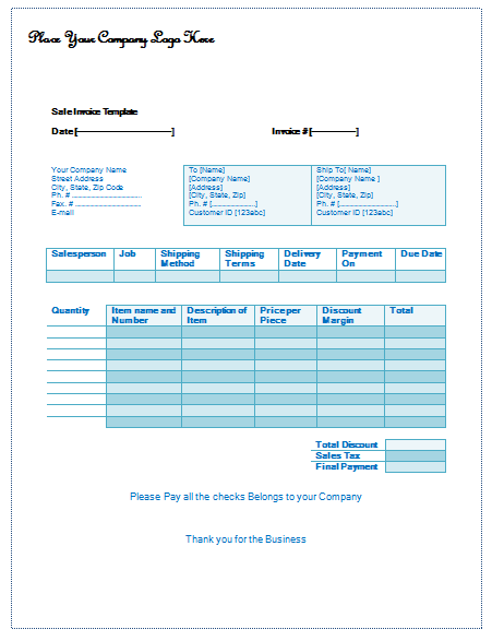Sale Invoice Template Easy Invoice Building – Sales Invoice Template Word