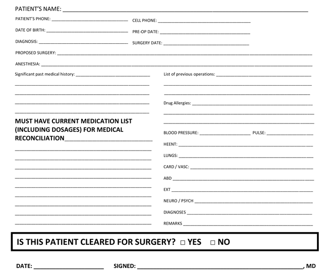surgery medical clearance form template