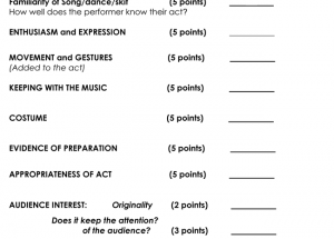 Perfect Printable Talent Show Score Sheets