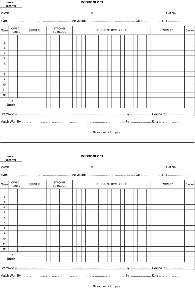 Sample Of Tennis Score Sheets