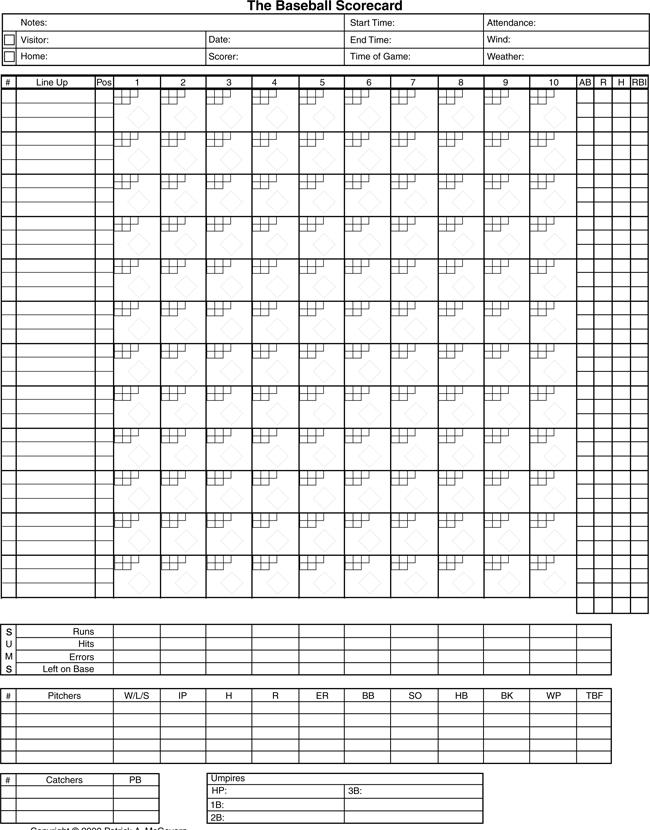 Printable baseball score sheets